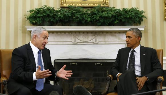 U.S. President Barack Obama meets with Israel's PM Benjamin Netanyahu at the White House in Washington