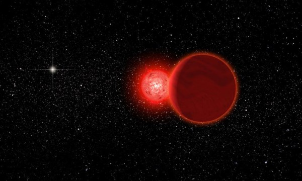 This is an artist's conception of Scholz's star and its brown dwarf companion (foreground) during its flyby of the solar system 70,000 years ago. The Sun (left, background) would have appeared as a brilliant star. The pair is now about 20 light years away. Credit: Michael Osadciw/University of Rochester