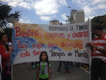 """""""A lot of balls and ovaries there are here to defend this land. Yankees of shit."""" An anti-imperialist refrain inspired by a popular Chávez slogan. (Credit: Lucas Koerner/venezuelanalysis.com)"""