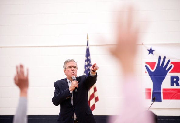Jeb Bush at a town-hall-style meeting in Reno, Nev., on Wednesday.Credit James Glover/Reuters