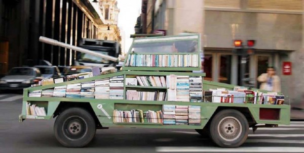 This-artist-turns-car-into-a-tank-armed-with-900-books-to-be-given-away-990x500