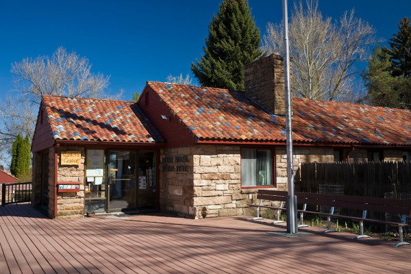 Stone structure now used as an office and visitor center, built by the Civilian Conservation Corps, CCC, in the Malheur National Wildlife Refuge headquarters complex, eastern Oregon, USA, April, 2009_OR_0735