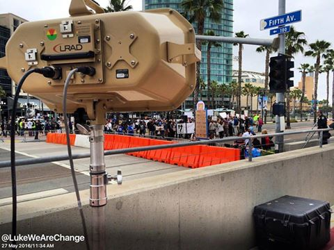 police have actually deployed an LRAD which is a less lethal munition laser weapon that could puncture ear drums and disperse large crowds. It was first used in Iraq during combat and now at large protests across the country. I'm reporting live now from the protest in San Diego, if it is used you will know by watching wearechange.org