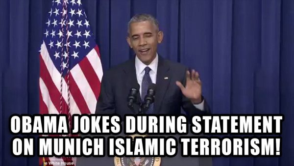 Obama JOKES during statement on Munich Terror Event