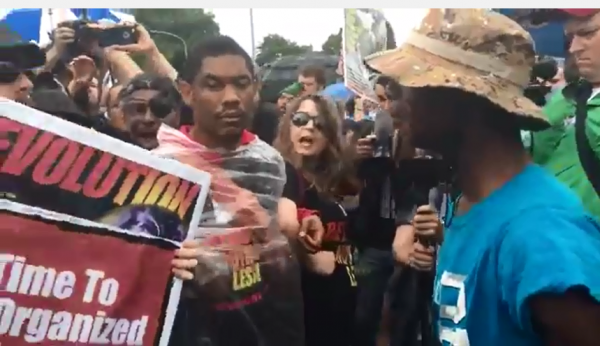 DNC MADNESS: Protestors Fight Flag Burning Communists