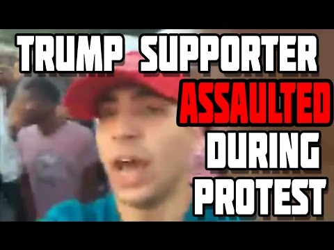 Trump Supporter Savagely Attacked for Wearing a Make America Great Again Hat At BLM Protest.