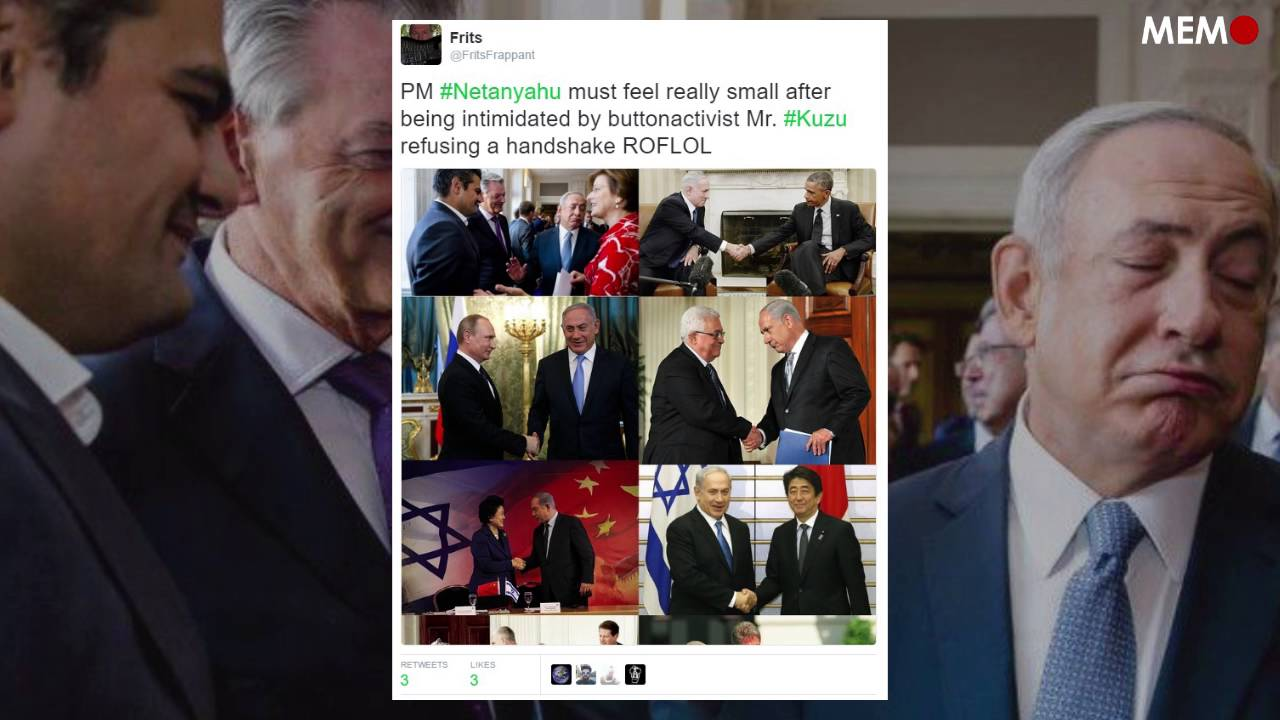 Dutch MP refuses to shake hands with Benjamin Netanyahu