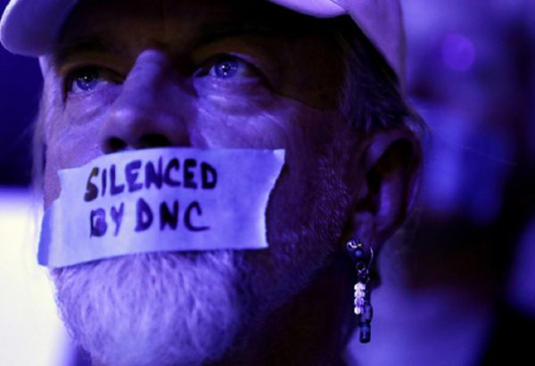 A Bernie Sanders delegate at the DNC in July.