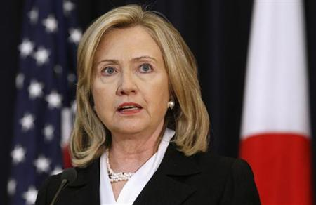 U.S. Secretary of State Hillary Clinton speaks to reporters at the U.S.-Japan Security Consultative Committee meeting at the State Department in Washington June 21, 2011.  REUTERS/Kevin Lamarque