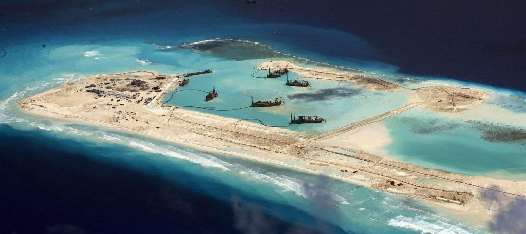 Artificial Chinese controlled islands in the disputed South China Sea