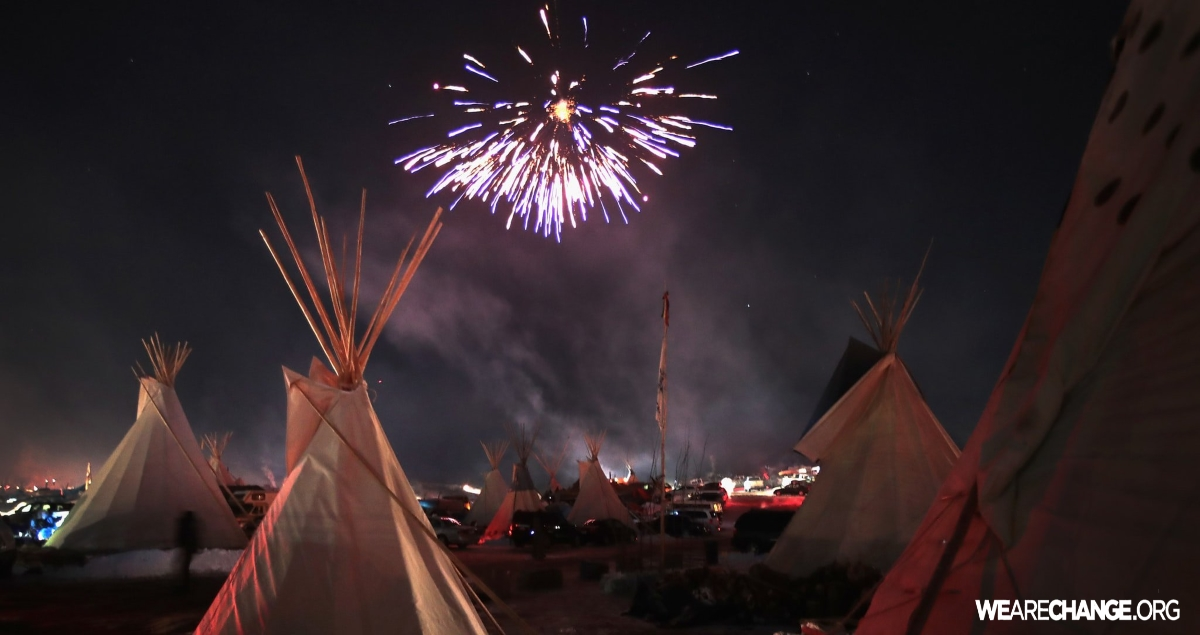 Standing Rock celebrates as the U.S. Army Corps shuts down the Dakota Access Pipeline.