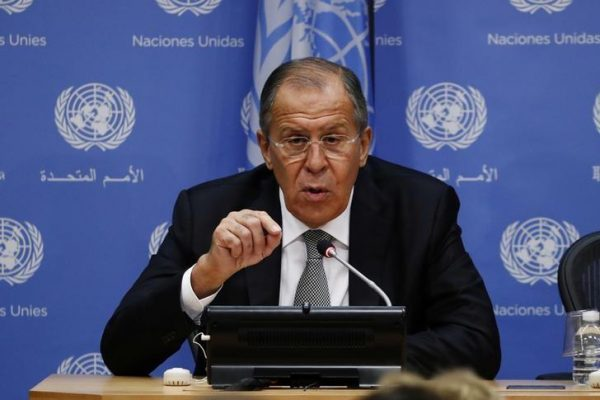 Russian Foreign Minister Sergei Lavrov takes part in a news conference at United Nations Headquarters in New York