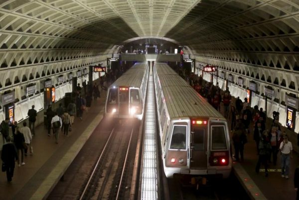 Metro trains arrive in the Gallery Place-Chinatown station ahead of a 29-hour shutdown for an emergency safety investigation of power cabling of the entire Washington Metro system in Washington