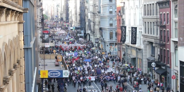 Aerial View [HD] Occupy Wall Street May Day March