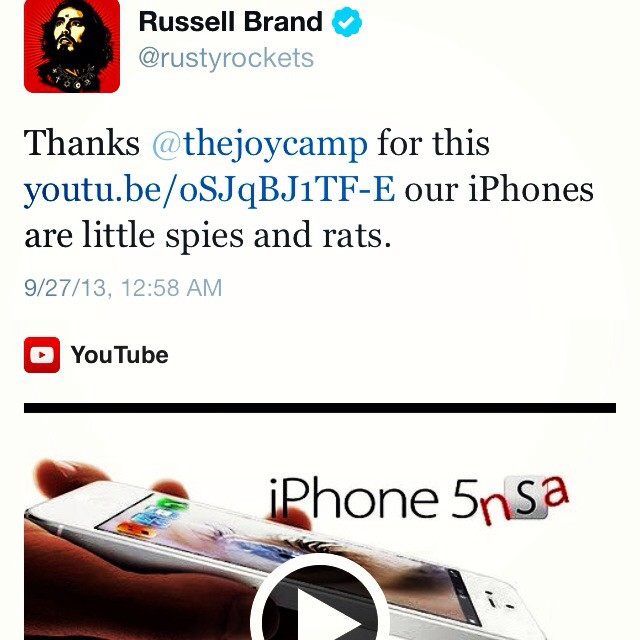 Thank you Russell Brand for tweeting out the video myself and @thejoycamp collaborated on #wrc