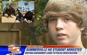 High school student arrested for imagining hunting a dinosaur with a gun in fiction story