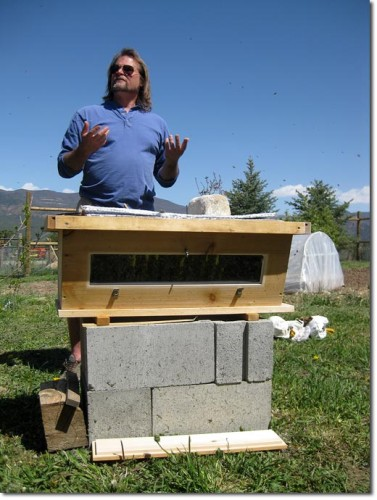 "Bee-Keeper Corwin Bell in behind his, ""top bar"" hive"