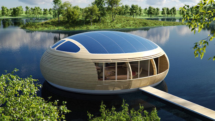 Floating Solar-Powered Home Is Almost 100% Recyclable
