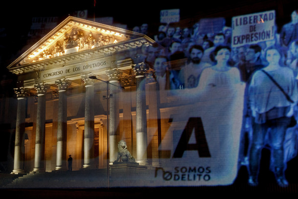 First Hologram Protest in History Held Against Spain's Gag Law