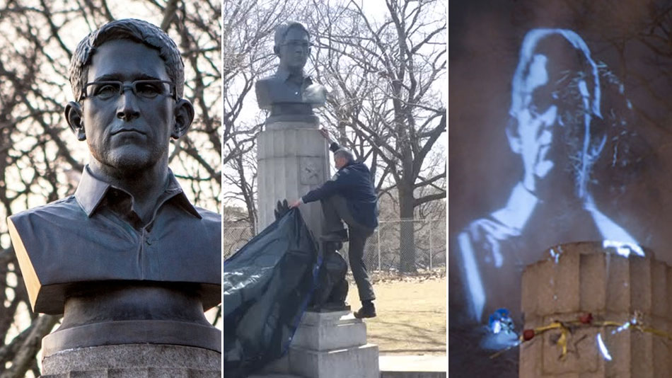 Hologram Replaces Edward Snowden Statue In NYC