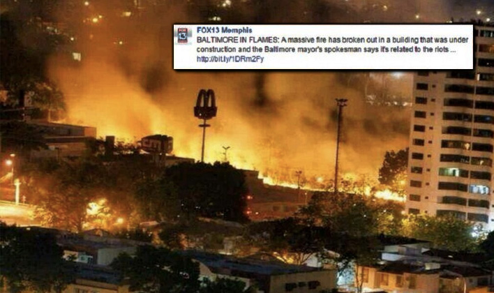Fox News Posts Fake Baltimore Riot Photo That's Actually From Venezuela