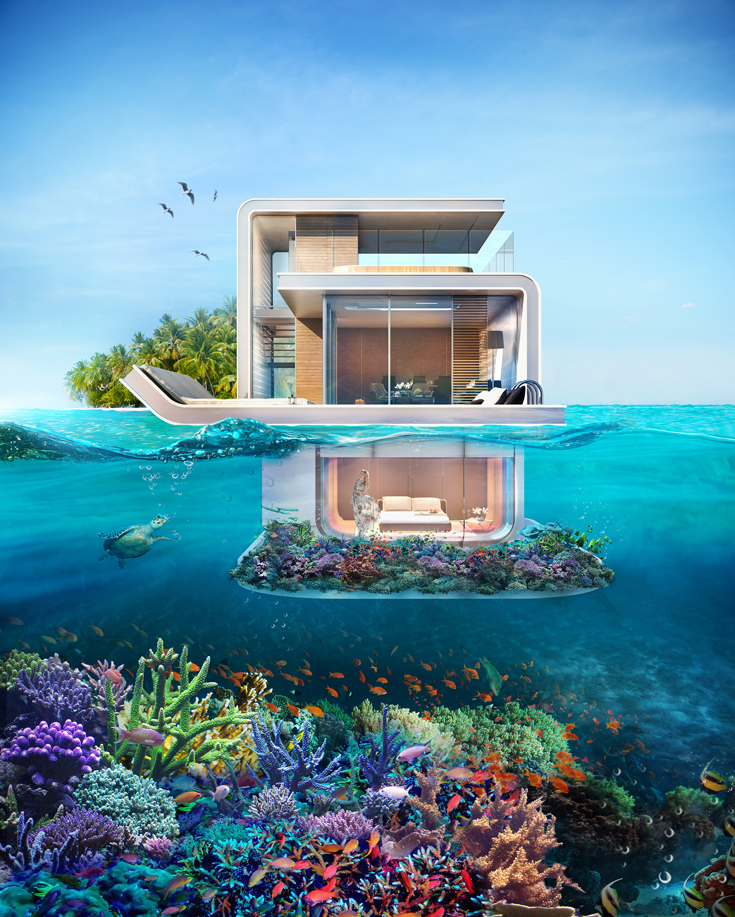 These Futuristic 'Floating Seahorse' Homes Are Partially Submerged