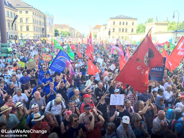 Tens of Thousands March Against Global Elites Ahead of G7
