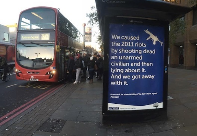 Posters calling out killer cops hit metropolitan bus stops.