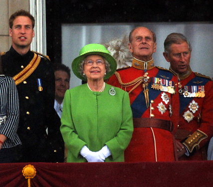 Britain's Queen Elizabeth II on the balcony of Buckingham Palace with other members of the Royal Family for the Trooping the Colour ceremony. (L-R) Princess Beatrice, The Duke Of York, Prince William, The Queen, The Duke Of Edinburgh, The Prince Of Wales.