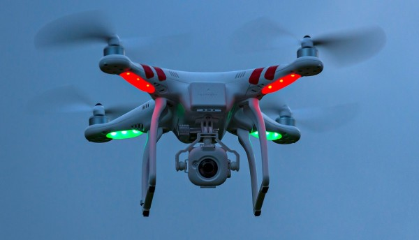 DJ1 Phantom Quadcopter Drone in flight - September 2014 Photo by: Paul Mayall/picture-alliance/dpa/AP Images