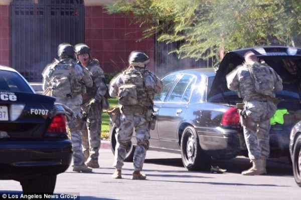 Members of a SWAT team pictured in San Bernardino, California