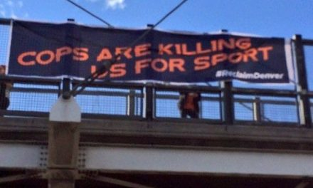 """Cops Are Killing Us For Sport"" Banner Drop Ahead of NFL AFC Championship"
