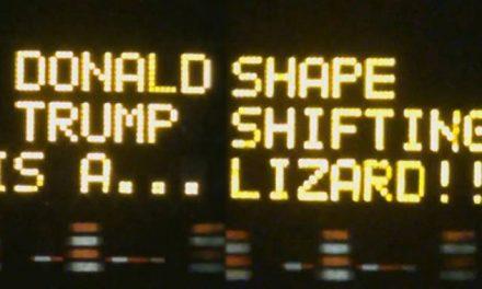 Texas Construction Signs Hacked to Endorse Bernie, Call Trump a Shape Shifting Lizard