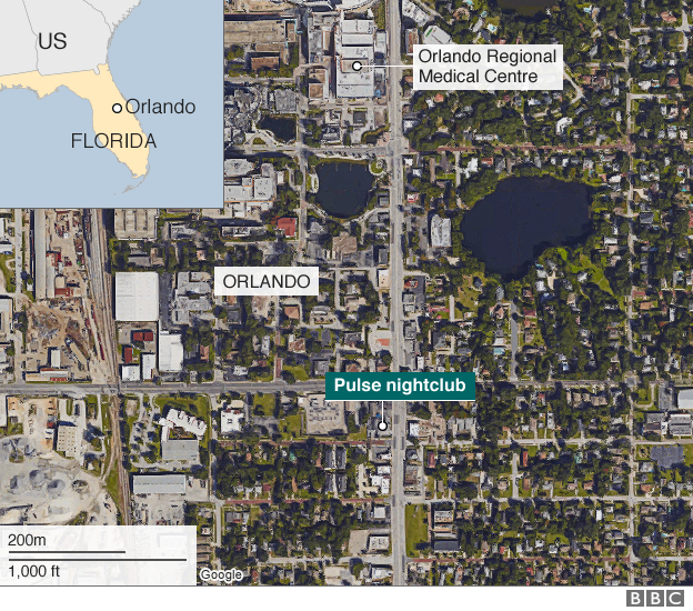 Orlando shooting map
