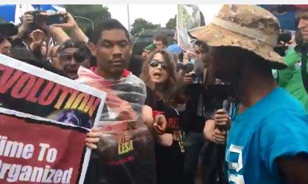 DNC MADNESS: Protestors Fight Flag Burning Communists