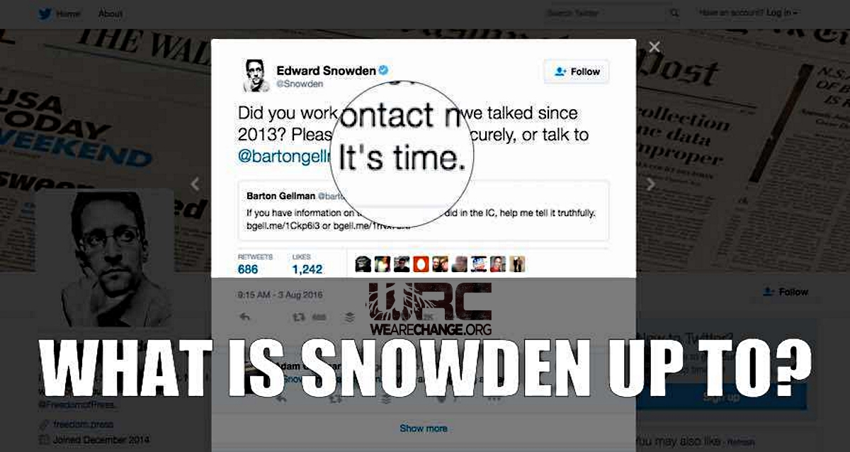 "TRENDING NOW: Edward Snowden Mysterious Tweet ""IT'S TIME"""