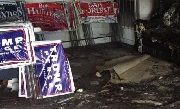 Firebomb Hurled into Republican Headquarters in Hillsborough, North Carolina