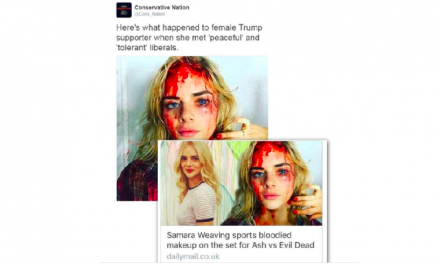 Fake Viral Photo of Woman 'Beaten Up By Liberals' Originated from Horror Movie Set