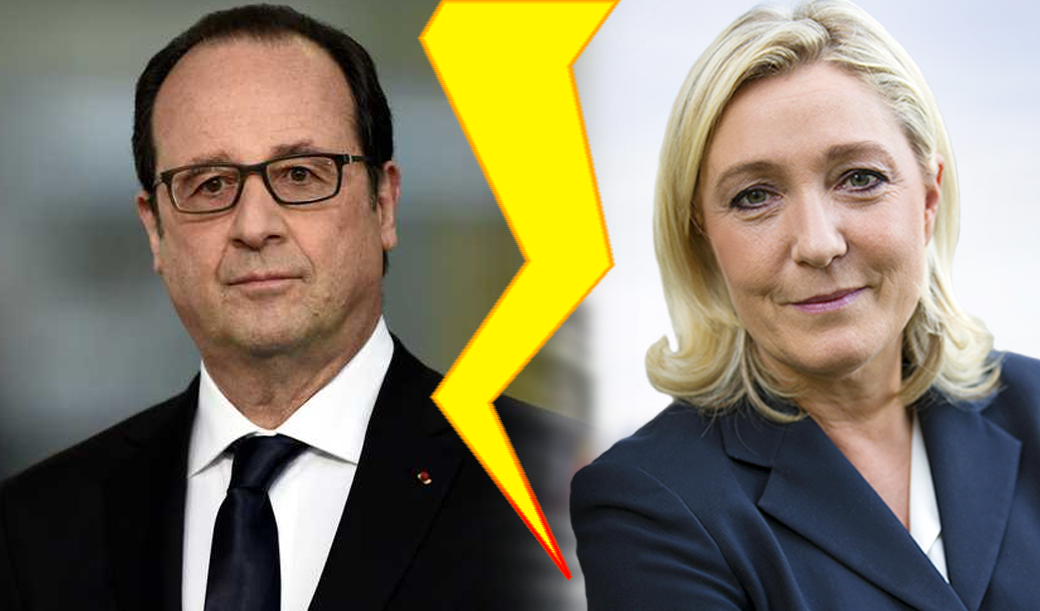 French President Hollande Warns Marine Le Pen Poses A 'Threat' To France And EU