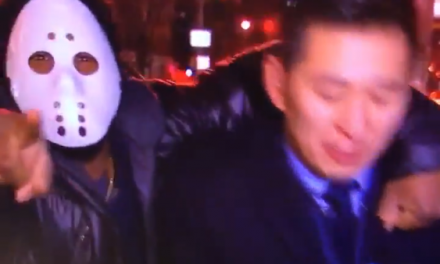 New York Reporter Punched In Face Live By Man In Jason Mask