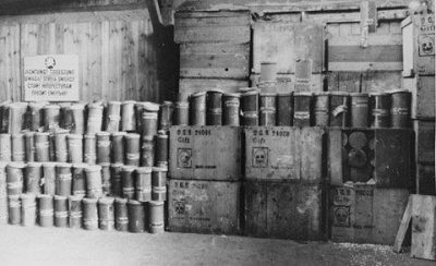 A stockpile of Zyklon-B poison gas pellets found at Majdanek death camp in 1944.