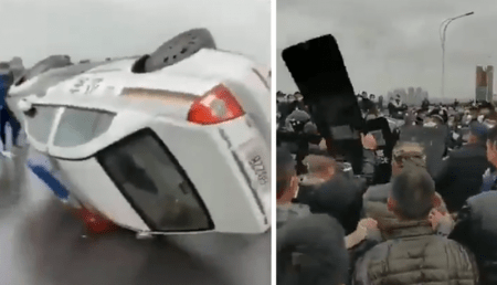 Hubei Residents Riot After Quarantine Lifted; Police Beaten With Their Own Shield, Cop Cars Overturned